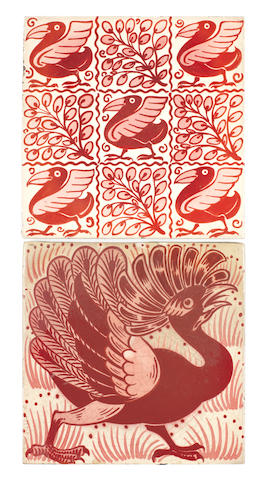 William De Morgan Two Ruby Lustre Bird tiles