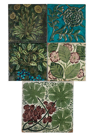 William De Morgan Five Floral Subject Tiles, late 19th Century