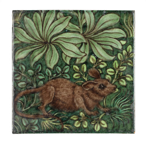 William De Morgan 'Mouse Amid Foliage' a Rare Figural Tile, circa 1885