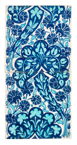 William De Morgan a Large Tile Persian Floral Panel, Late Nineteenth Century