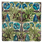William De Morgan Four tile panel, 6 inch tiles, mounted