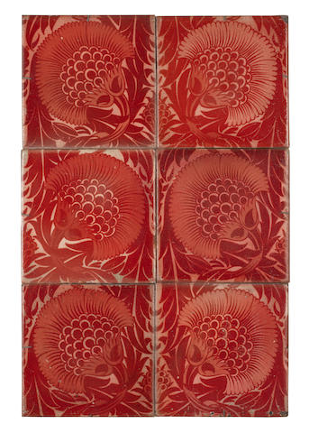William De Morgan Ruby Lustre 6-tile panels, BBB patern, mounted