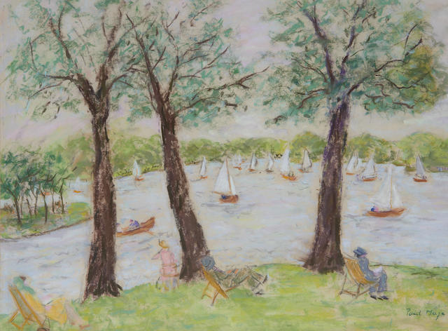 Paul Lucien Maze (French, 1887-1979) Boating lake, summer