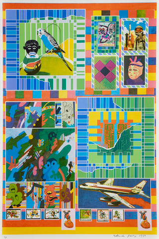Sir Eduardo Paolozzi (British, 1924-2005) Signs of death and decay in the sky Lithograph and screenprint on paper, 1970, on wove, signed, dated and numbered 31 in pencil, from an edition of 80, published by Petersburg Press, London, printed by Advanced Graphics, London, with margins, 780 x 523 mm (30 3/4 x 20 5/8in)(SH)