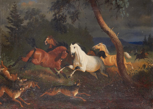 Friedrich Anton Kilp (German, 1822-1872) Woves attacking wild horses