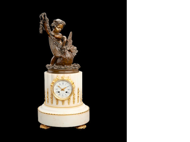 A mid 19th century French marble and bronze figural clockby Dussault a Paris and Jacques Antoine Theódore Coinchon, French (1841-1881)