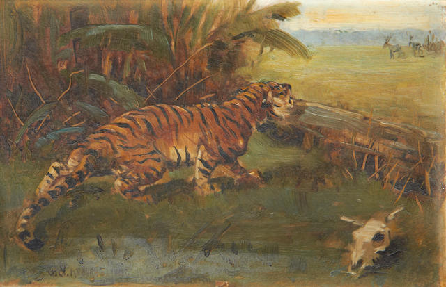 George Goodwin Kilburne Jnr. (British, 1863-1938) A tiger hunting