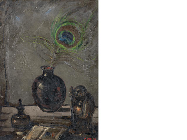 Pieter Willem Frederick Wenning (South African, 1873-1921) Stil life of peacock feather and buddha figure
