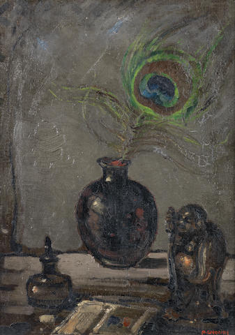 Pieter Willem Frederick Wenning (South African, 1873-1921) Still life of peacock feather and Buddha