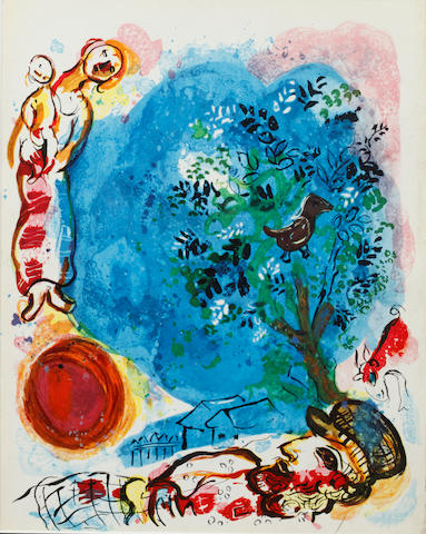 Marc Chagall (Russian/French, 1887-1985) XXe Siecle - Hommage à Marc Chagall lithograph in colours, unsigned, 30.5 x 23.5cm; together with another unsigned lithograph from XXe Siecle - 'Panorama 70' (Mourlot, 1970), 31 x 24cm; and an offset lithograph - Cover for XXe Siecle (laminated). 3