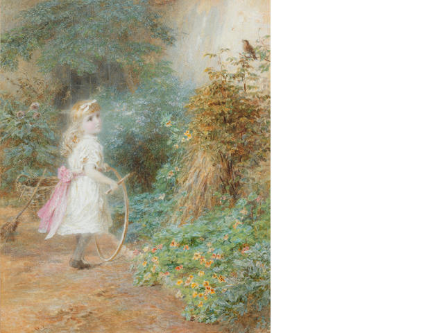 Walter Little Young girl with hoop on a country path