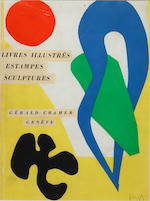 Henri Matisse (French, 1869-1954) Femme au chapeau lithograph in colours, 31 x 22.5cm; together with another lithograph - study of the back of a female nude (46 Derriere le Mirroir 5/1952), 38 x 28cm, and a lithographic cover (catalogue) for the Cramer Gallery, Geneva, 1952.  3