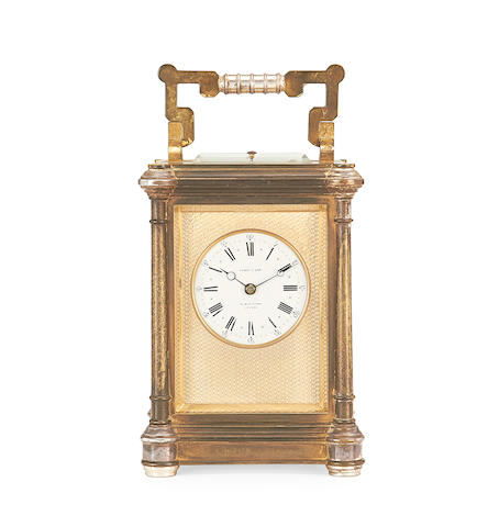 A late 19th century gilt and silvered brass Petite Sonnerie carriage clock by Francois Arsène Margaine