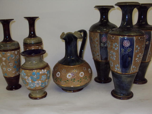A quantity of Royal Doulton chine-ware vases