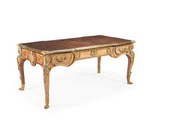 A Louis XV style gilt metal mounted bureau plat,