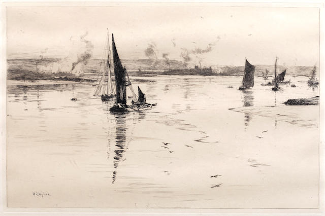 William Lionel Wyllie (British, 1851-1931) The Mouth of the Medousa & Fishing Boats off Ryde Two etchings, on wove, each signed in pencil, with margins, 215 x 330mm (8 1/2 x 13in)(PL)(and smaller)(2)