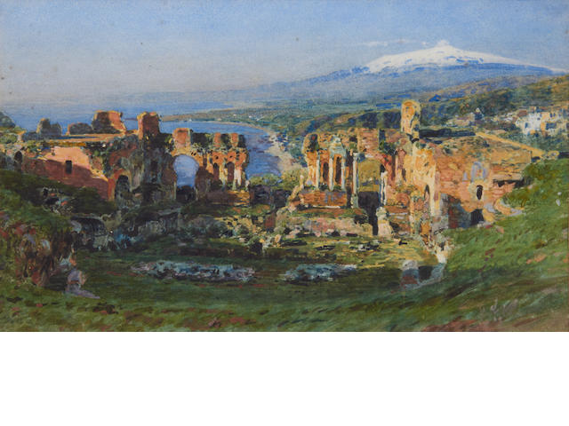 Attributed to Henry Wallis (British, 1830-1916) Roman Theatre, Taormina