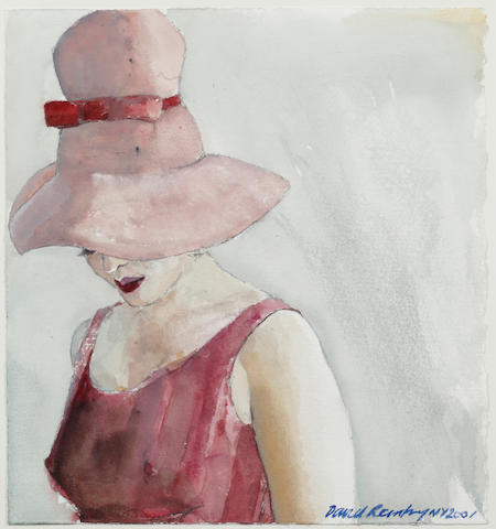 David Remfry (British, born 1942) Young woman in a pink hat