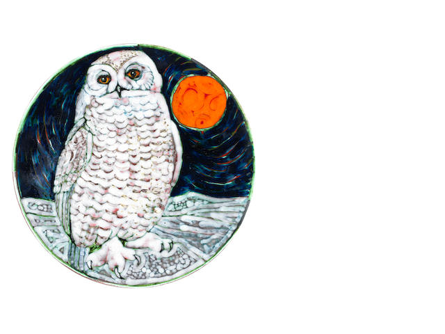 Tony Morris for Poole Pottery 'Snowy Owl' a Unique Charger, 1999