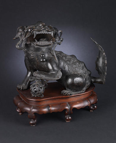A large, bronze Buddhistic lion Ming or Qing Dynasty