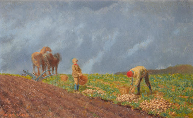 Arthur Hughes (British, 1832-1915) Potato harvest