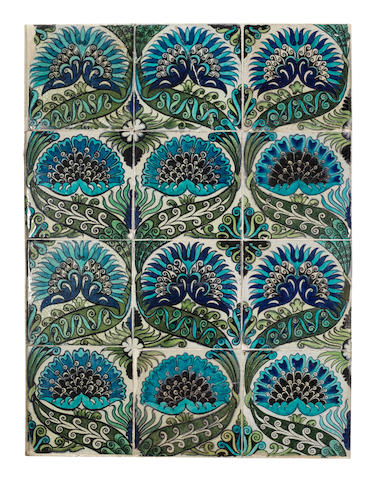 William De Morgan a Persian Design Tile Panel, late Nineteenth Century