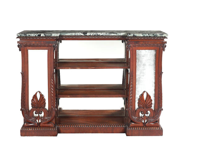 A William IV mahogany inverted breakfront bookcase
