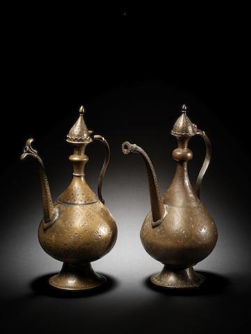 Two Mughal brass Ewers India, circa 17th Century(2)