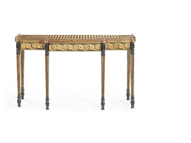 A Regency and later grisaille penwork decorated breakfront serving table
