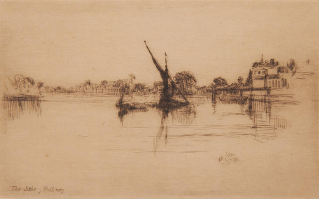James Abbott McNeill Whistler (1834-1903) Little Putney, No 2 Etching, final third state, with the butterfly monogram, plus the title added by another hand lower left, on laid, with margins, 124 x 200mm (4 7/8 x 7 7/8in)(PL)