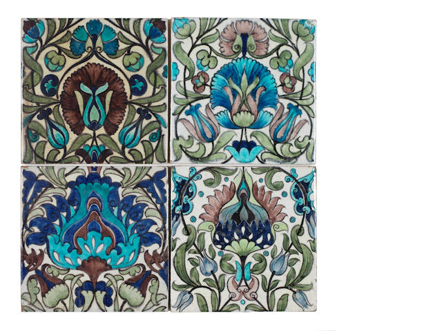 William De Morgan Four floral tiles