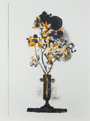 Graham Sutherland O.M. (British, 1903-1980) Vase with exotic fruit Lithograph printed in colours, 1971, on wove, signed and inscribed 'epreuve d'artist' in pencil, together with 'Balancing Form' (Tassi 130), lithograph in colours, 1972, signed, dated numbered XIV/XXX and dedicated 'For elly, with our warmest love as always, her friend, Graham S', an artist's proof aside from the numbered edition of 90, published by XXe Siecle, Paris, printed by Fernand Mourlot, Paris, 565 x 770mm (22 1/4 x 30 3/8in)(SH)(and smaller)(2)