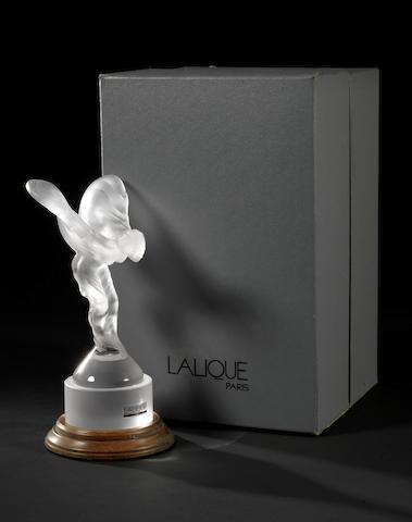 A Cristal Lalique 'Spirit of Ecstasy' mascot, French 1990s,