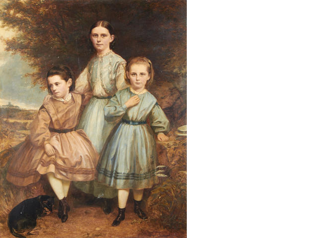 British School, 19th Century Portrait of three sisters and their dog