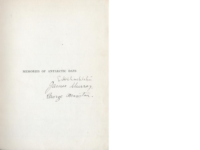 MURRAY (JAMES) and GEROGE MARSTON. Antarctic Days, limited edition, 1913