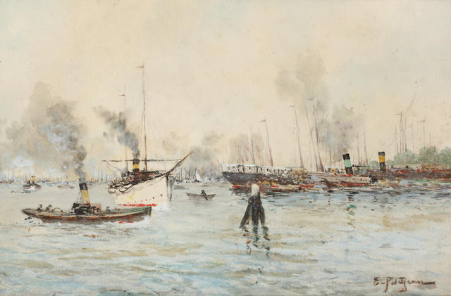Edmond Marie Petitjean (French, 1844-1925) Harbour, Bordeaux
