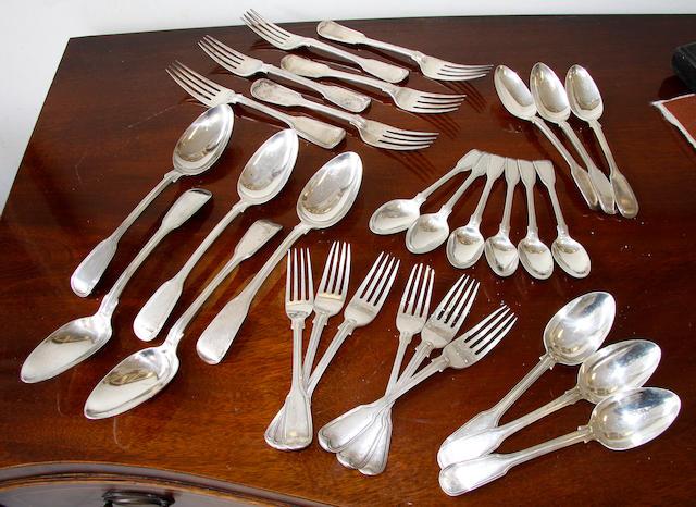 A silver part canteen,