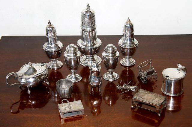 A silver sugar shaker,