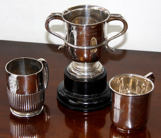 A silver trophy cup,