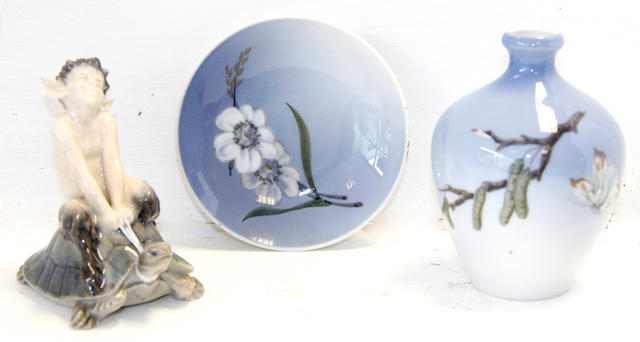 A collection of eight pieces of Royal Copenhagen porcelain