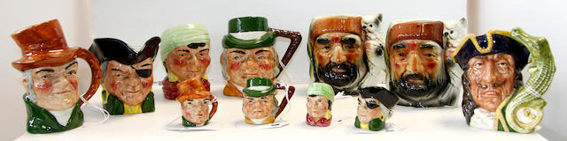Eight various toby jugs and four minature toby jugs