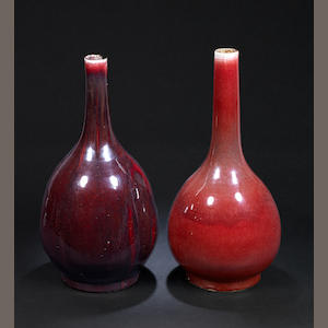 Two flambé-glazed bottle vases