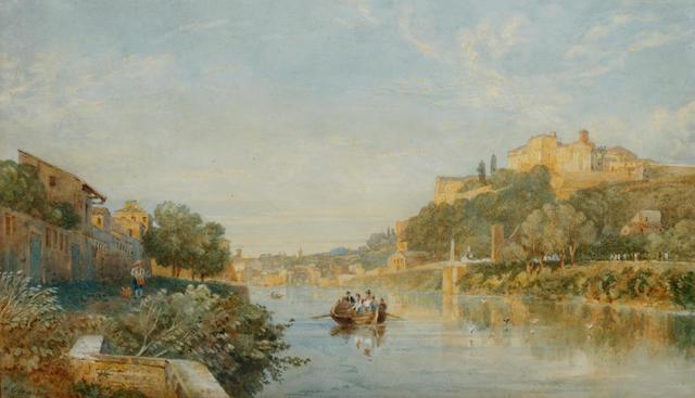 Arthur Glennie (British, 1803-1890) Figures on a boat in an Italianate river landscape