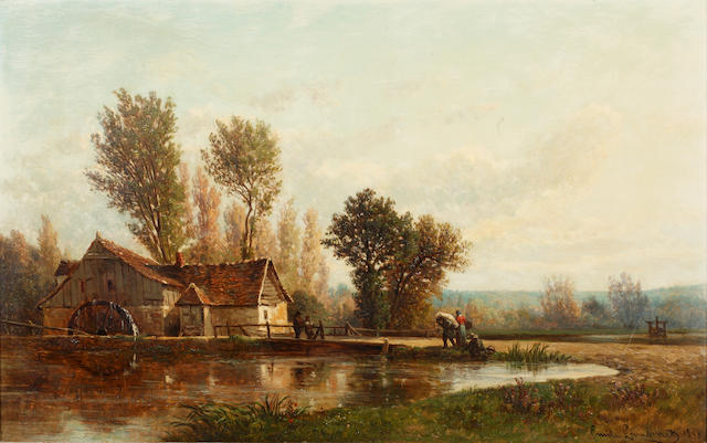 Emile Charles Lambinet (French, 1815-1877) The watermill