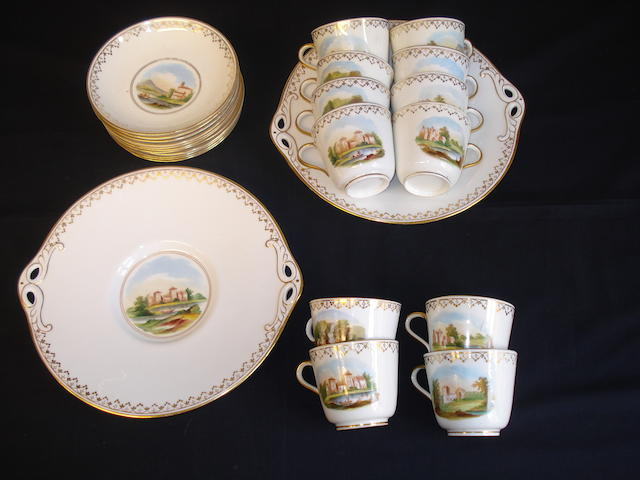 An early Victorian tea service decorated wtih landscape views