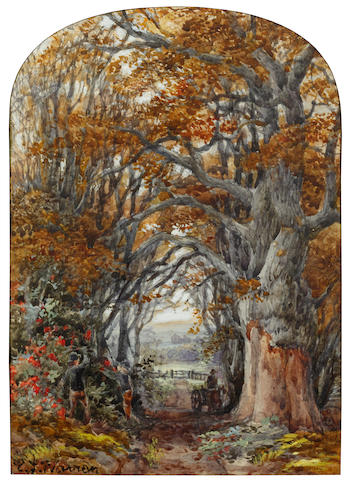 Edmund George Warren (British, 1834-1909) Figures on a wooded country lane