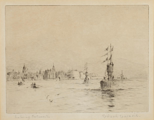 Rowland Langmaid (British, 1897-1956) Entering Portsmouth; Leaving Portsmouth signed and inscribed in pencil etchings (a pair) 14.5 x 19.5cm (pl) (2)