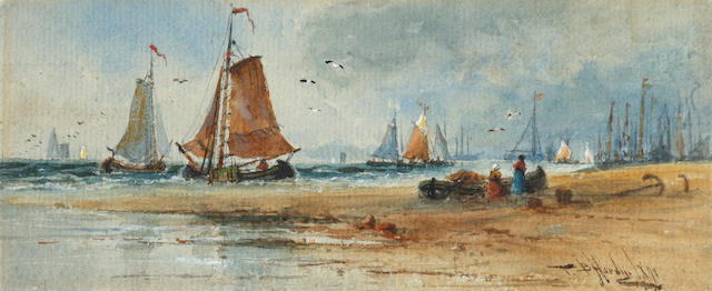 Thomas Bush Hardy (British, 1842-1897) Fishing vessels off the shore