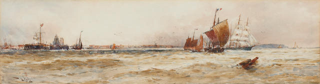 Thomas Bush Hardy (British, 1842-1897) French vessels off the Dutch coast