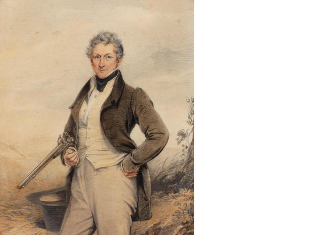 English School, 19th century A gentleman sportsman, three-quarter length, with gun broken over his arm